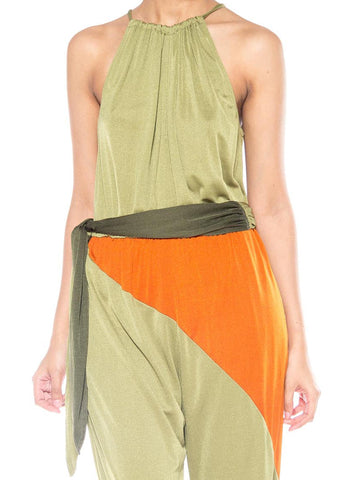 1970S Orange & Olive Green Polyester Jersey Jumpsuit