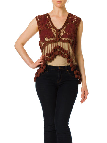 1980s Romeo Gigli Documented Crochet Embroidered Vest with Pompoms