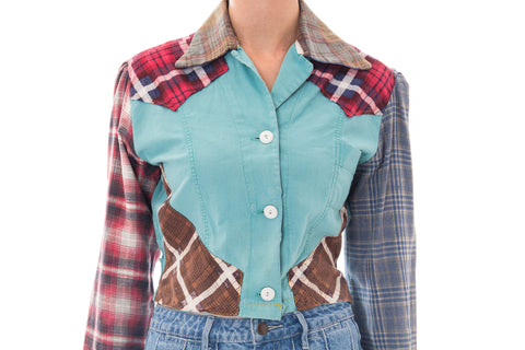1940S Patchwork Cotton Wwii Utility Plaid Workwear Shirt Jacket