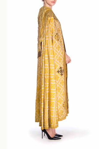 Victorian Gold Silk & Cotton Brocade Long Catholic Cape With Real Fringe Embroidery