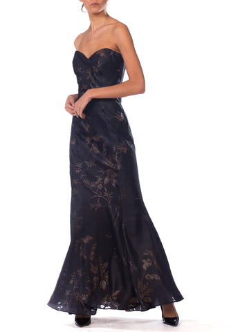 1990S Alexander Mcqueen For Givenchy Black Silk Blend Burnout Chiffon Bias Strapless Gown