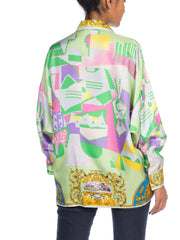 1990S Gianni Versace Istante Baroque Silk  Blouse In Art Deco Pastels