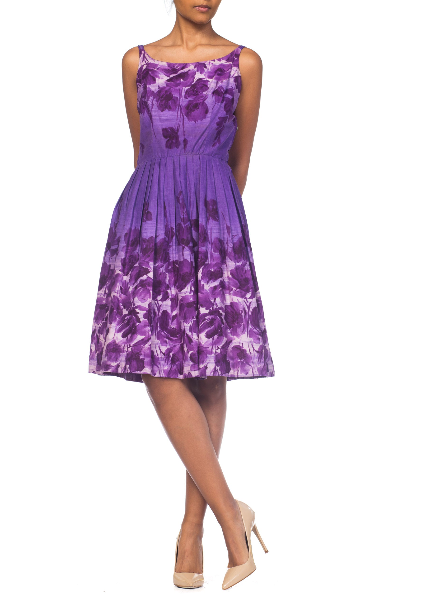 1950S Purple Cotton Floral Dress With Pockets