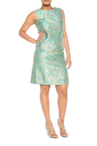 Gold and Turquoise Brocade 60s Mod Cocktail Shift Dress