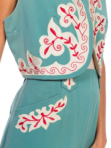 1940S Teal Wool Blend Embroidered Western Vest & Pants Ensemble