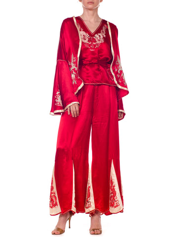 1920s Asian Red Silk Dragon Embroidered Beach Pajamas Set Top, Pants, And Jacket