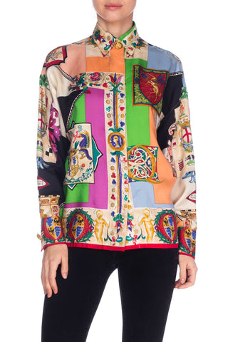 1990s Silk Coat of Arms Inspired Versace Shirt