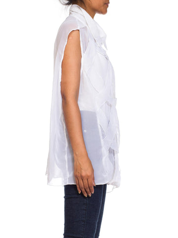 1980S White Sheer Polyester Chiffon Layered Minimal Sleeveless Top