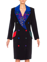 1980s Fabrice Silhoute Coat Dress with blue lapels and multicolor buttons
