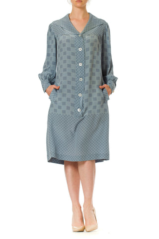 Checkerboard Geometric Silk Shirtdress with Buttons