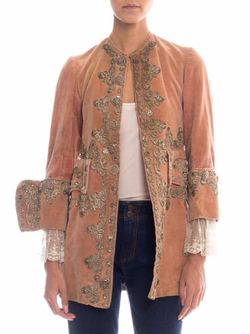 18th Century Style Silver Embroidered Victorian Frock Coat