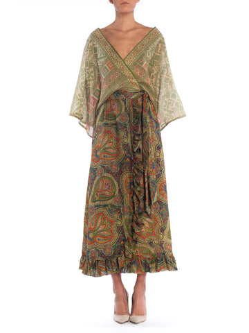 Morphew Lab Paisley Wrap Dress with Ruffle