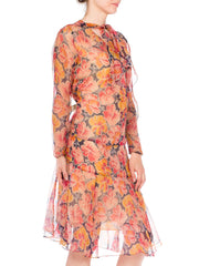 1920s Tropical Floral Silk Chiffon Drop Waist Day Dress
