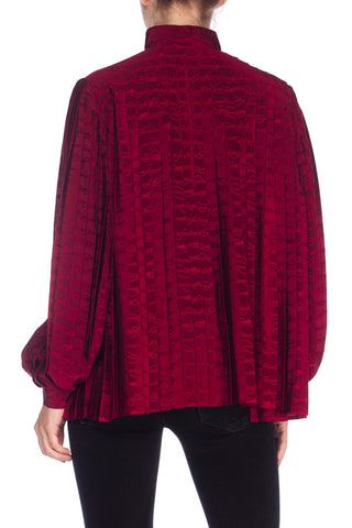 1970S GUCCI Cranberry Red Silk Jaquard Pleated Blouse