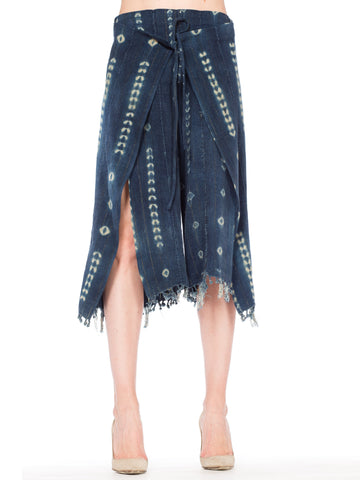 Handwoven Tie-dyed African Indigo Wrapped Pants with Gold threads and Knotted Fringe hem