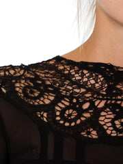 1930s Sheer Crepe Silk and lace Long Sleeve Black Mourning Dress