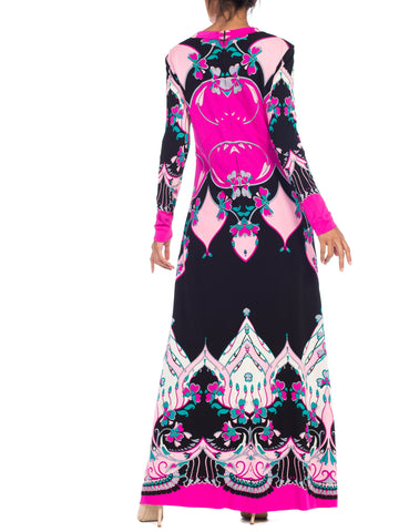 1970S  Roland's Of Rome Pink & Black Silk Jersey Pucci Leonard Style Dress
