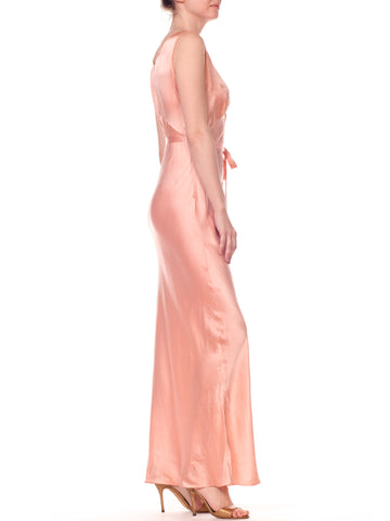 1930S Blush Pink Haute Couture Silk Charmeuse Bias Cut Slip Dress