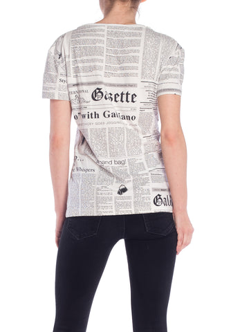 2000S John Galliano Cotton Newspaper Print V Neck T-Shirt