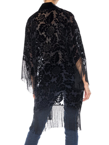 1990S Morphew Collection Silk Burnout Velvet Sheer Fringed  Kimono