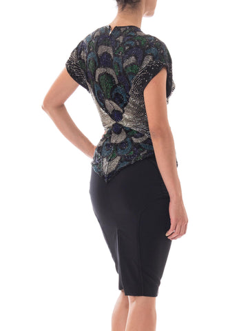1980s Lillie Rubin New York Black Silk Chiffon Beaded Top