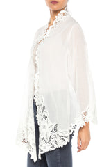 1990S Cotton White Sheer Lace Peranakan Kebaya  Jacket