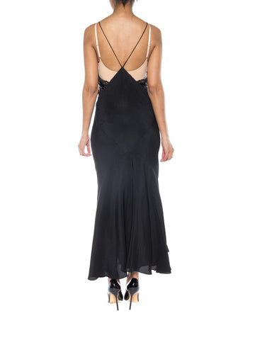 MORPHEW COLLECTION Black Bias Cut Silk Crepe De Chine Backless Gown With Edwardian Beaded Lace
