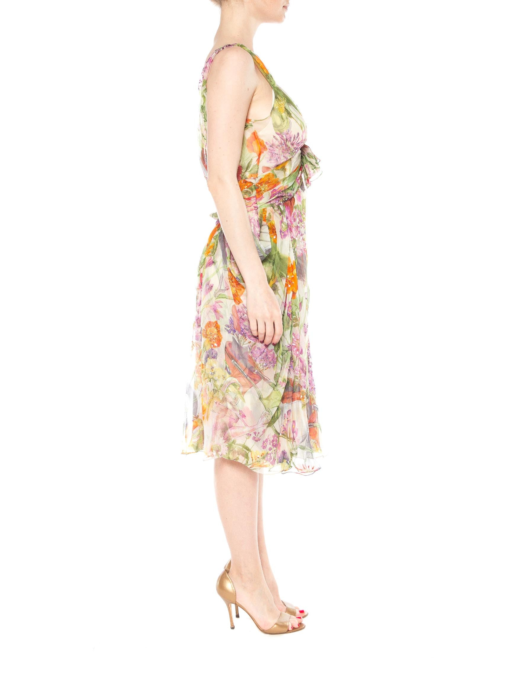 1990S JOHN GALLIANO CHRISTIAN DIOR Pastel Floral Silk Chiffon Backless Beaded Garden Cocktail Dress