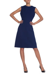 1960s MOD Couture Navy Wool Shift Dress