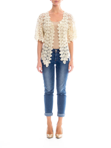 Edwardian Off White Cotton Lace Short Sleeve Jacket Top