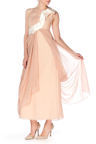 Nude Assymetrically Draped Gown