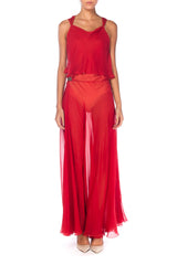 1930s Red Chiffon Gown With Crystal Encrusted Clasps