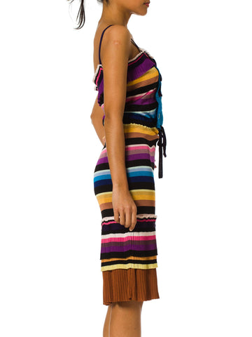 1990S Missoni Jersey Striped Tie Neck Drawstring Waist Tank Dress With Pleated Hem Hide
