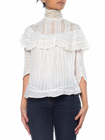 Victorian White Top with Lace on Yoke