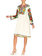 1910S Ecru Linen Antique Folk Tunic Dress With Heavy Multicolored Beading
