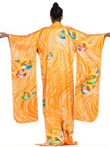 Hand Embroidered Japanese Silk Kimono In Orange With With Birds