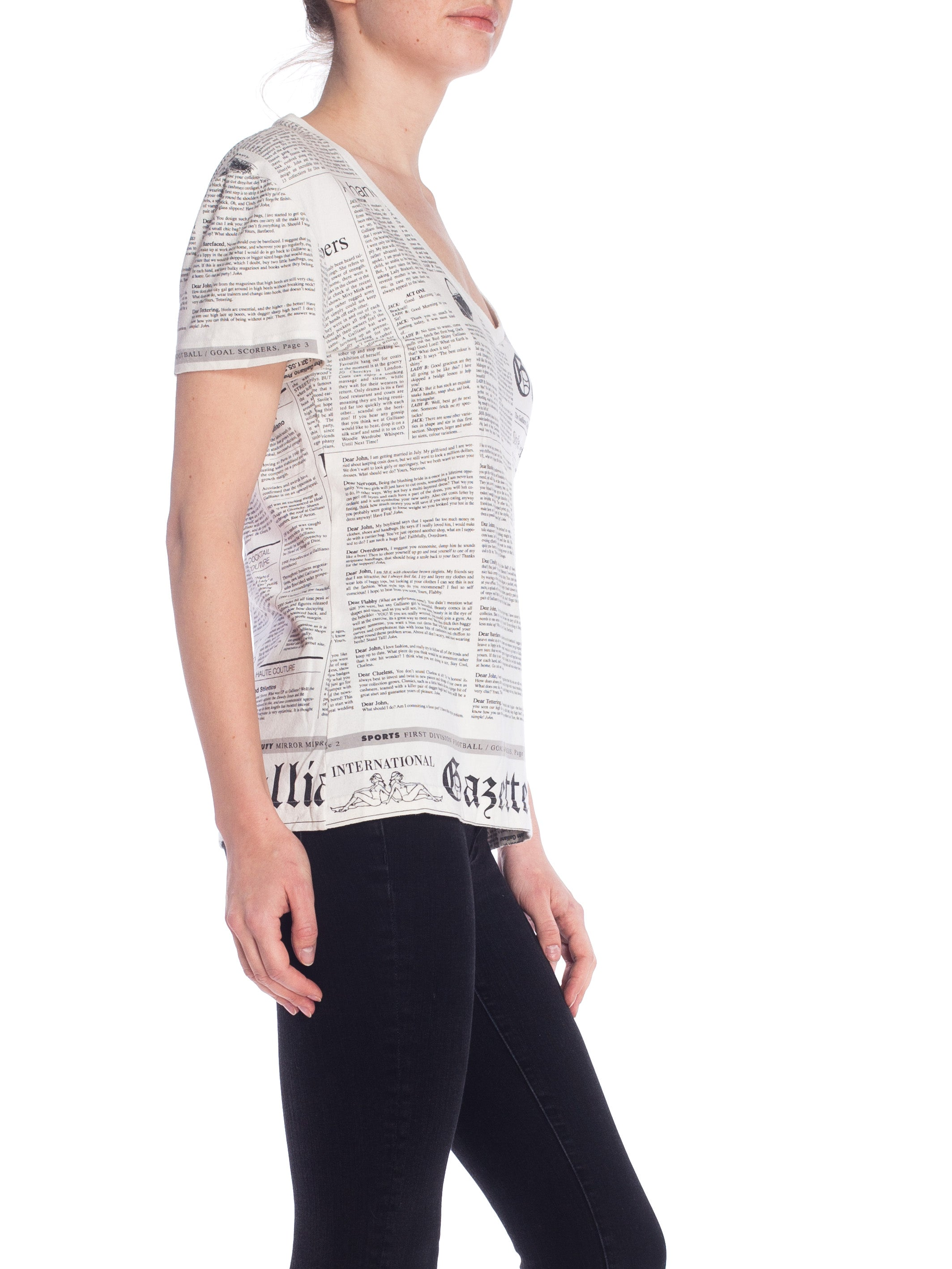 2000S JOHN GALLIANO White & Black Cotton Knit Newspaper Print V Neck T-Shirt