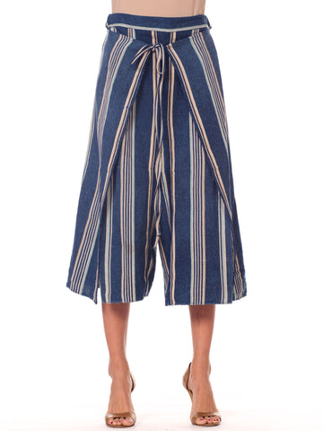 Blue and White Striped Handwoven African Indigo Wrap Pants