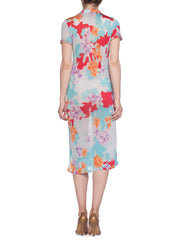 Leonard Sheer Silk Jersey Tropical Floral Print Dress