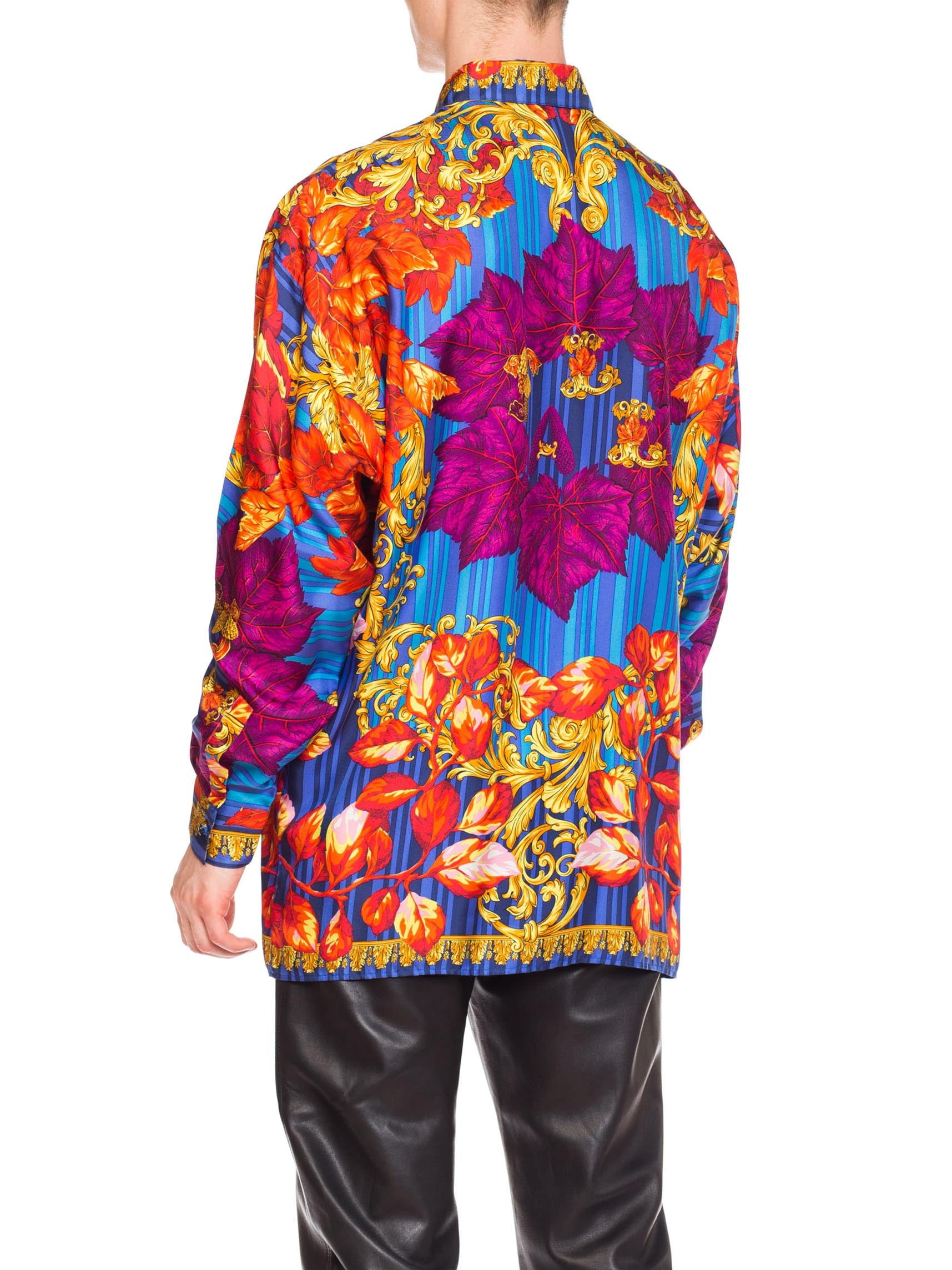 1990S GIANNI VERSACE Silk Men's Istante Gold Baroque Shirt