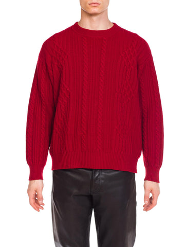 GUCCI Mens 1980's Red Cashmere Sweater