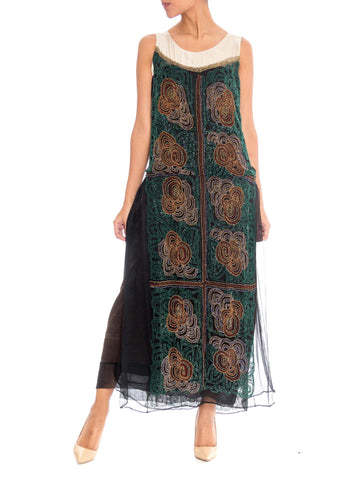 1920s Beaded Chiffon Maxi Dress