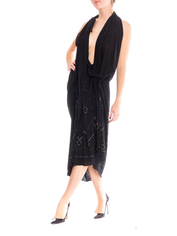 1990S MAISON MARTIN MARGIELA Black Rayon Jersey Avant Garde Draped Cocktail Dress Studded With Crystals