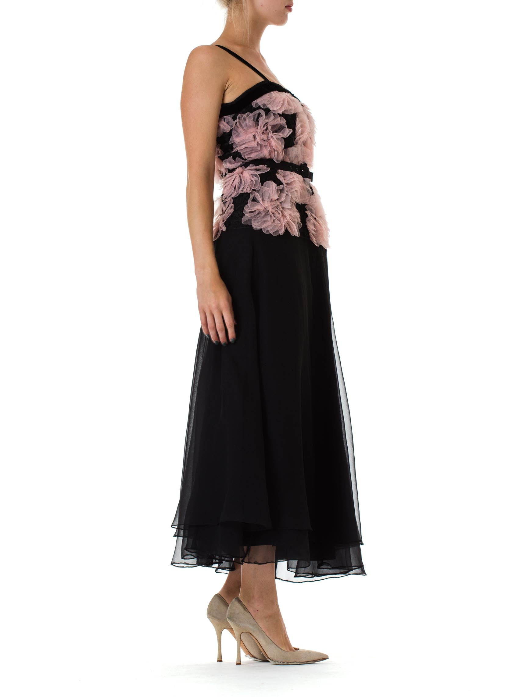 Morphew Collection Black & Pink Chiffon Chanel Inspired Gown Made With 1980S Ribbon Lace