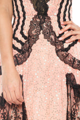 Morphew Lab Pink with White Polka Dots and Black Lace Gown