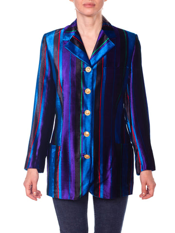Versace Striped Velvet Dress Jacket