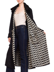 1920s Black Silk Embroidered Wrap Coat with Geometric Op Art Lining