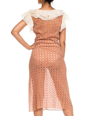 1930s Lace Embroidered Cotton Eyelet Dress With Organdy Ruffles