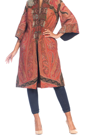 Morphew Collection Hand Embroidered Coat Made From Antique Victorian Wool Paisley Shawls