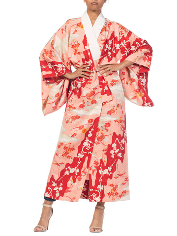 1960S Salmon Japanese Silk Kimono With Cherry Blossoms & Crystal Ties